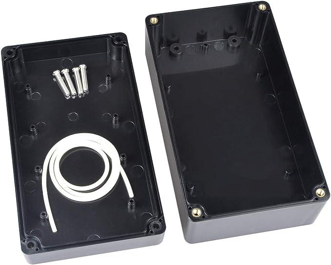 Therlan Caja de proyectos de conexiones de plástico impermeable ABS IP65 Caja electrónica 158 x 90 x 60 mm (negro)