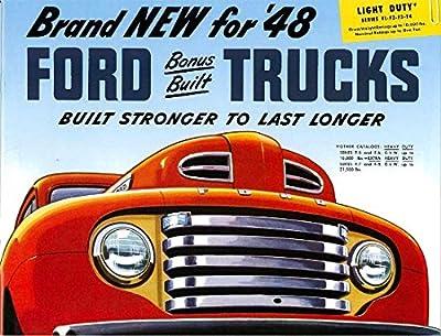 1948 F1, F2, F3, F4 SERIES FORD TRUCK & PICKUP BEAUTIFUL DEALERSHIP SALES BROCHURE - ADVERTISMENT - COVERS F-1, F-2, F-3, F-4 Pickup, Express, Panel, Stake & Platform Trucks 48