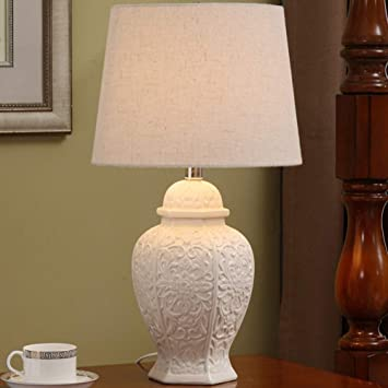 JUNMYEON Lámpara de Mesa Elegante, Flor patrón lámpara de ...