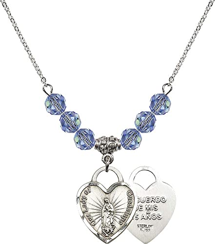 Recuerdo Charm. 18-Inch Rhodium Plated Necklace with 6mm Sapphire Birthstone Beads and Sterling Silver Our Lady of Guadalupe Heart