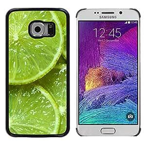 rígido protector delgado Shell Prima Delgada Casa Carcasa Funda Case Bandera Cover Armor para Samsung Galaxy S6 EDGE SM-G925 /Green Citrus Fruit Nature Vibrant/ STRONG