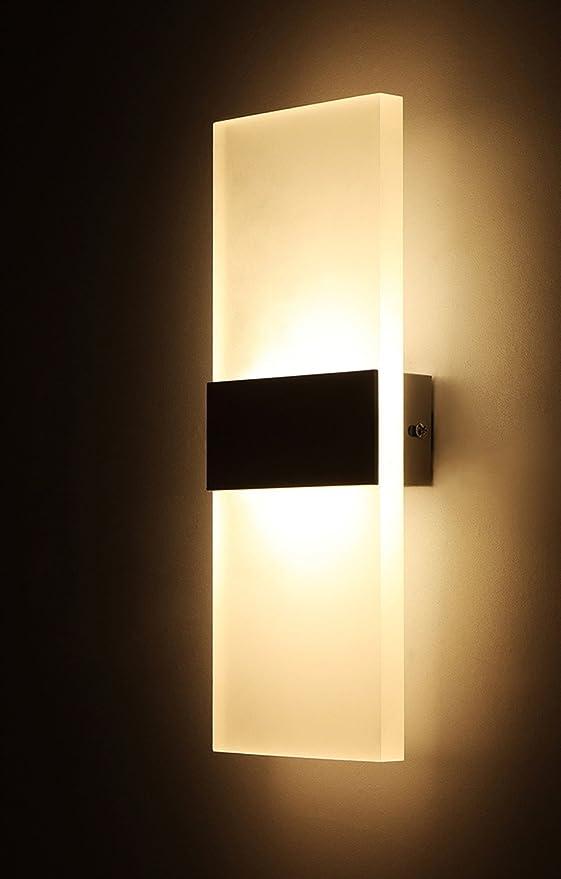 aplique pared Lámpara de pared LED Dormitorio creativo Lámpara de pared Escaleras Balcón 6W 12W Arandela de pared Luz habitación del hotel Lámpara de pared cálida Lámpara de pared Iluminación dormito: Amazon.es: