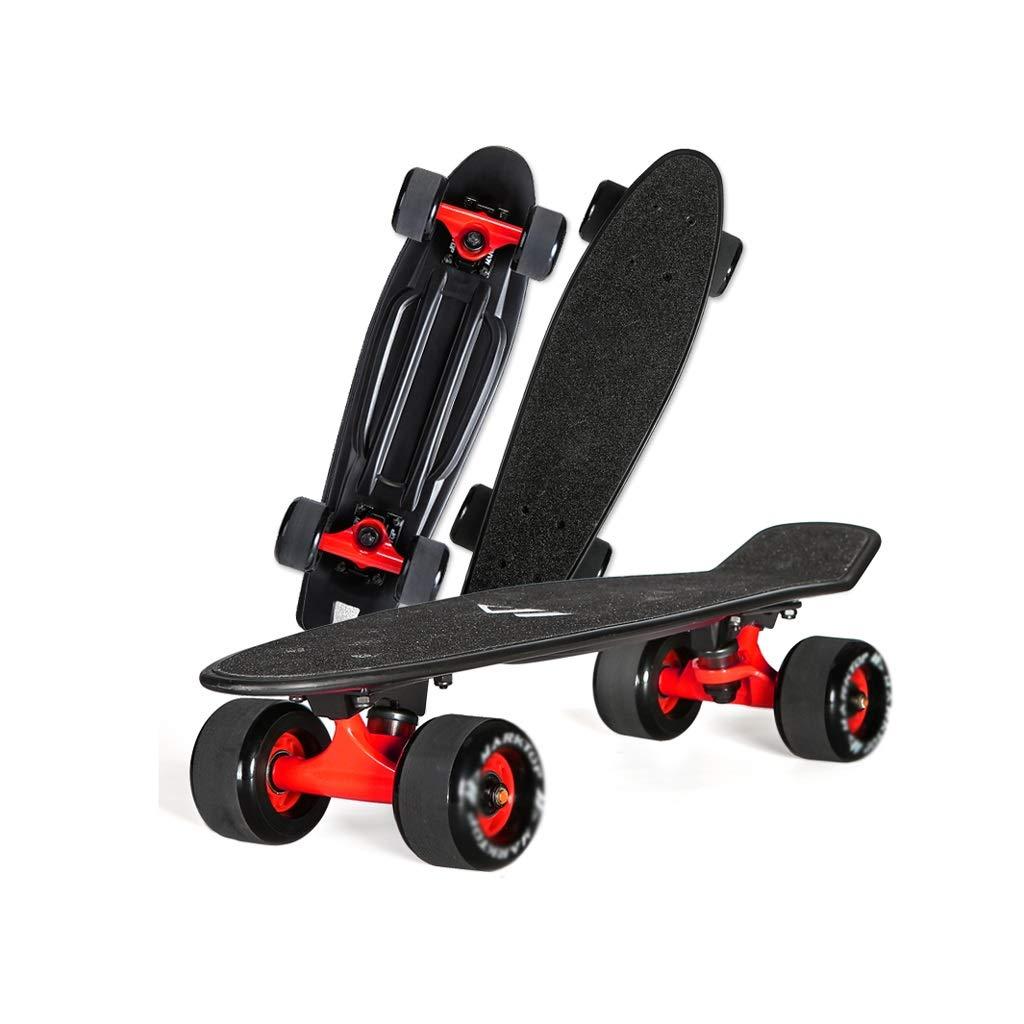 HXGL-Skateboards Four-Wheeler Cool Black Matte Big Wheel Skateboard Fish Plate Banana Board Adult Boys and Girls Youth Beginner Children's (Color : Black)