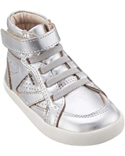 effa9cbb7 Old Soles Girl's and Boy's The Leader Perforated Metallic Leather Elastic  Lace Hook and Loop High