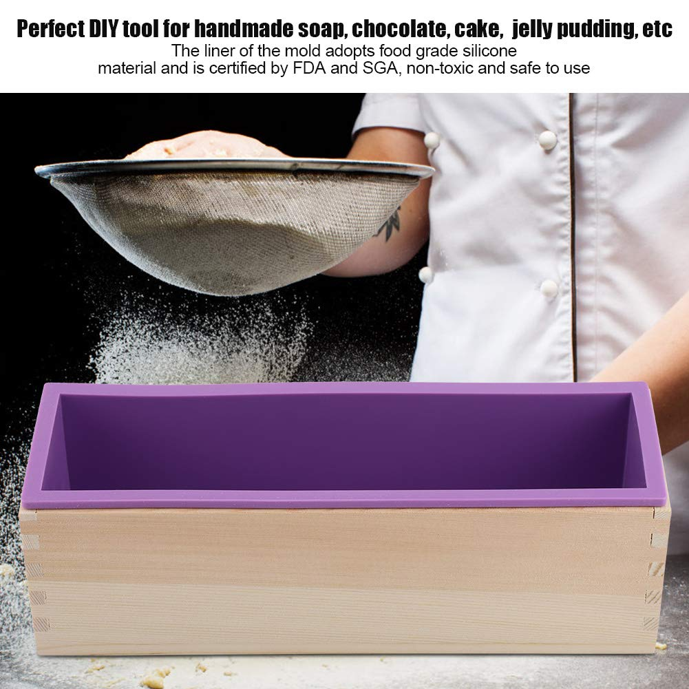 1200ML Rectangular Silicone Soap Mold Loaf Mold Wood Box DIY Tool for Baking Cake Loaf Chocolate