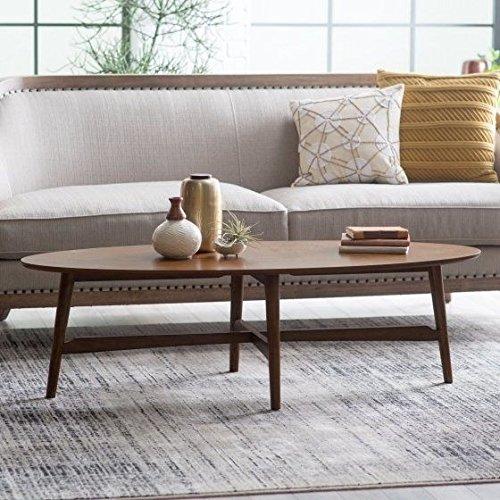 Oval Coffee Table Wooden,Retro,Dark Walnut Finish Walnut Oval Coffee Table