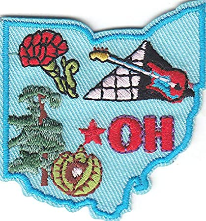 "/""IN/"" Iron On Embroidered Applique Patch//Midwest INDIANA STATE SHAPE"