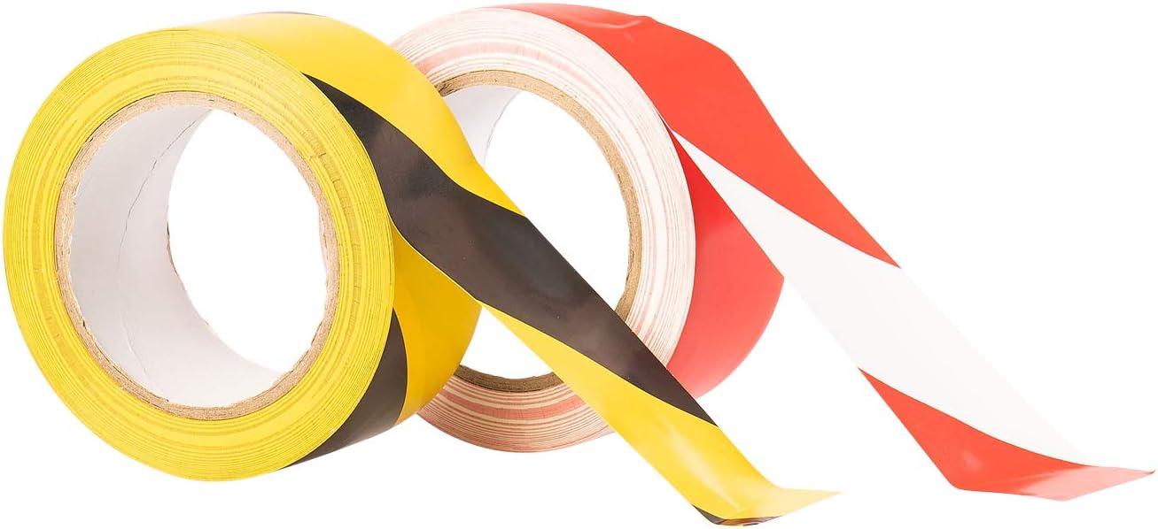 GTSE Premium Lot de 2 rouleaux de ruban adh/ésif de signalisation de danger Noir//jaune et rouge//blanc 50 mm x 33 m