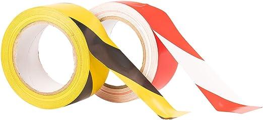 Ruban de signalisation danger 50 mm x 33 m Noir//jaune ou rouge//blanc