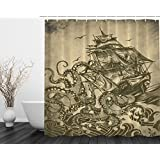 Ocean Shower Curtain Sail Boat Waves and Octopus Kraken Tentacles Country Decorations for Bathroom Sepia Print Decorative Polyester Fabric Shower Curtain (Yellow)