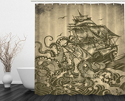 Ocean Shower Curtain Sail Boat Waves and Octopus Kraken Tentacles Country Decorations for Bathroom Sepia Print Polyester Fabric Shower Curtain, Yellow Olive (Printed Curtains Designs)