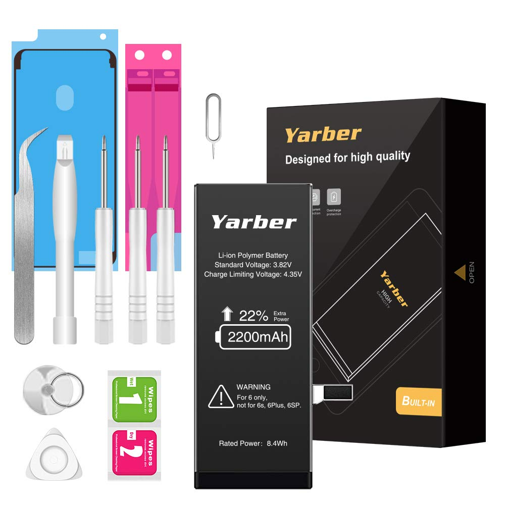 Yarber Battery Replacement for iPhone 6, 2200mAh High Capacity Li-ion Replacement Battery with Professional Full Set Repair Tool Kits- 2 Year Warranty by Yarber