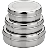 Jagani Stainless Steel Choclate Sleek Canister - Dabba , Set of 3