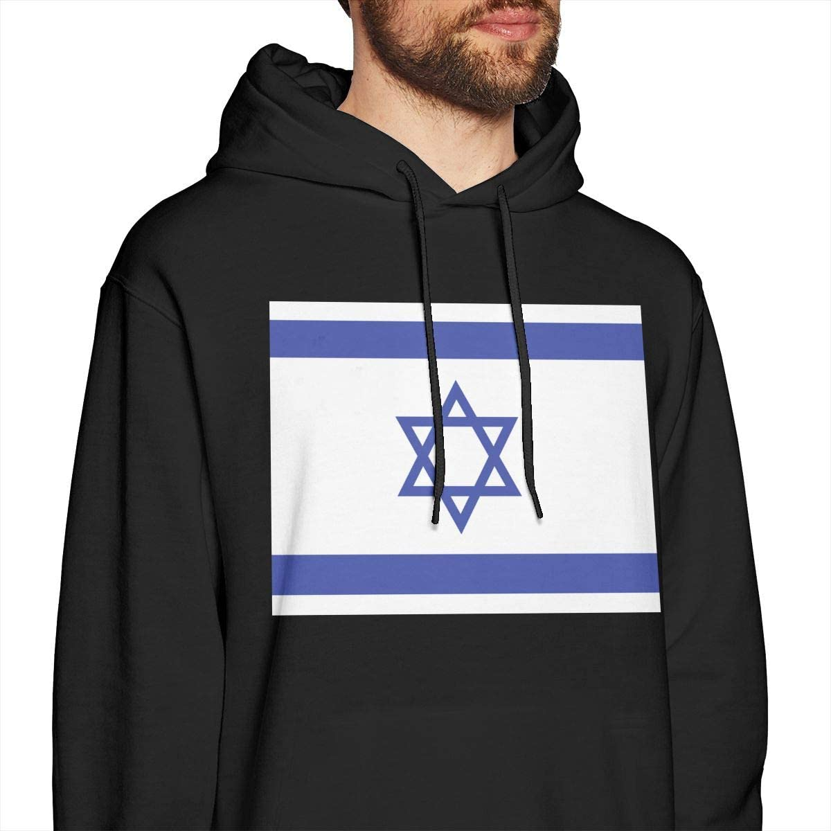 Mens Hoodies Israeli Flag Cool Pullover Hooded Print Sweatshirt Jackets
