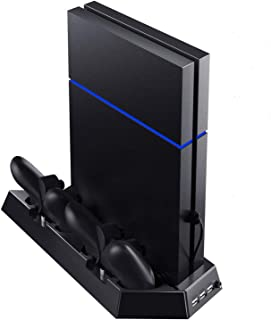 product image for PS4 PlayStation 4 Stand with Cooling Fans, Controllers Charging Station with Dual Charging Ports and USB Hub for Sony Dualshock 4 Controllers