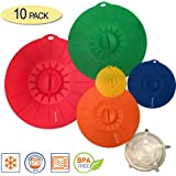 """10 Piece Silicone Lids Set (5 silicone suction lids set 12"""",10"""",8"""",6"""",4""""+ 5 stretch lids set) Reusable silicone lid covers for Pots, Pans, Dishes and Bowls"""