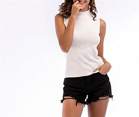 ZFFde Moda Chaleco acanalado sin mangas de punto de cuello alto para la blusa de las mujeres (Color : White, tamaño : L): Amazon.es: Ropa y accesorios