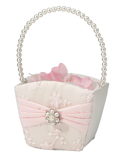 Amazon lillian rose vintage blush pink flower girl basket home lillian rose vintage blush pink flower girl basket mightylinksfo