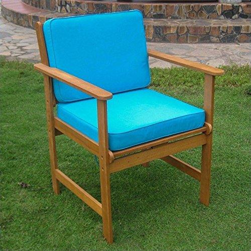International Caravan TT-1B-006-2CH-AB-IC Furniture Piece Set of Two Royal Tahiti Gulf Port Arm Chair with Aqua Blue Cushions For Sale