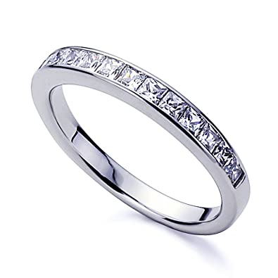 Platinum Plated Sterling Silver 1ct Princess CZ Channel Setting Wedding Band Size 5 To 11
