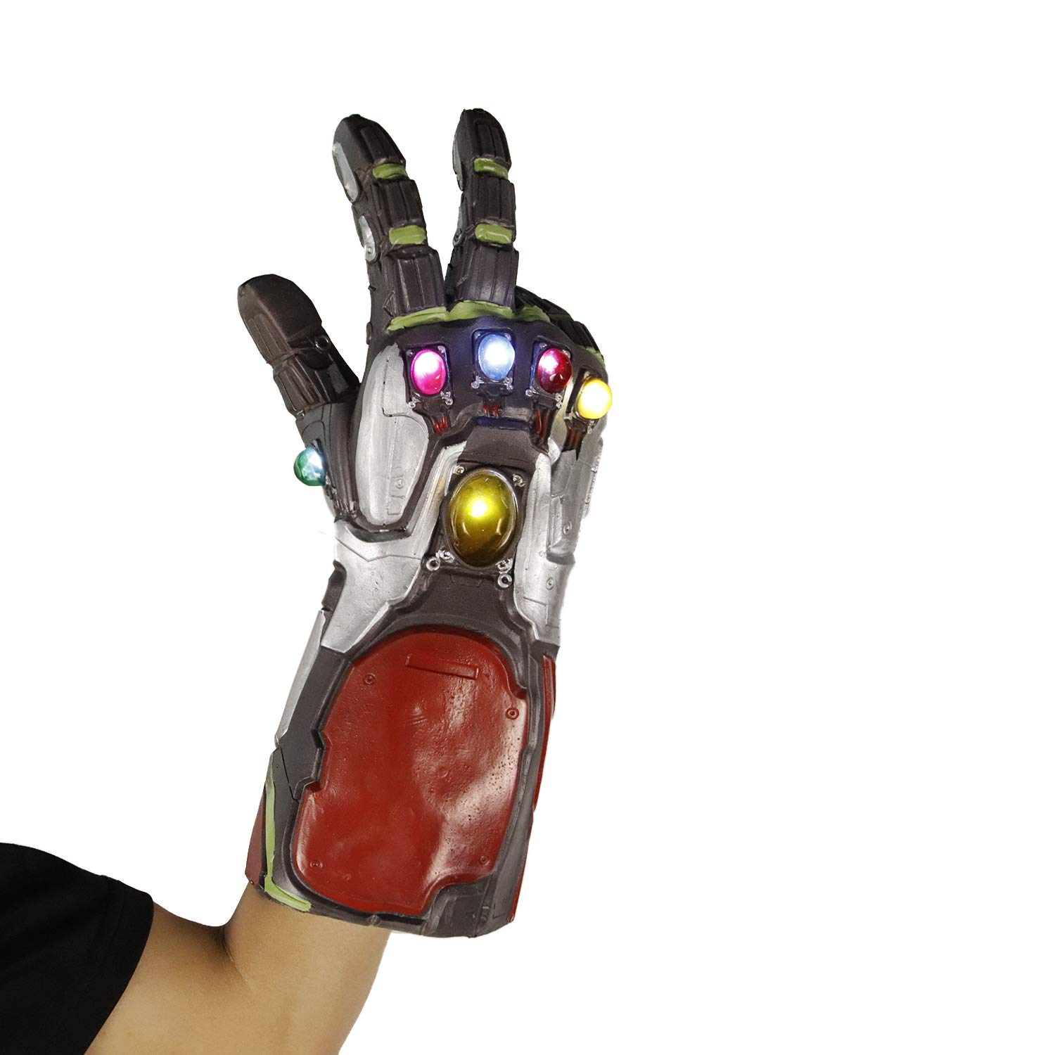 Arm Avengers 4 Endgame Black Infinity Gauntlet LED Latex Superhero Gloves Iron Man Fist Light Up for The Avengers Cosplay Prop Costume