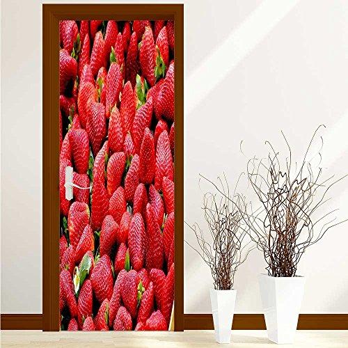 - Printsonne Door Sticker Seductive fresh strawberry durable materia W36 x H79 INCH