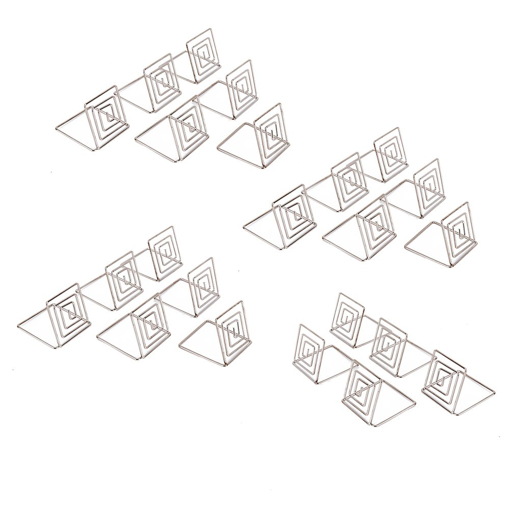Looching 20pcs 1.5X1.5 Inch Silver Wire Place Card Holder Photo Clips Place Memo Note Holder For Tabletop Use