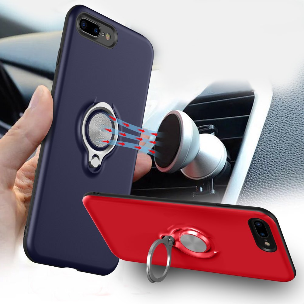 3in1 High Protective TPU ZENKA Professional Case Kickstand Ring Holder Rotate 360 Degree for iPhone 8 Plus Magnetic Car Holder Black for iPhone 7 Plus and 8 Plus PC