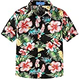 SSLR Big Boy's Hibiscus Cotton Short Sleeve Casual Button Down Hawaiian Shirt (Medium(10-12), Black)