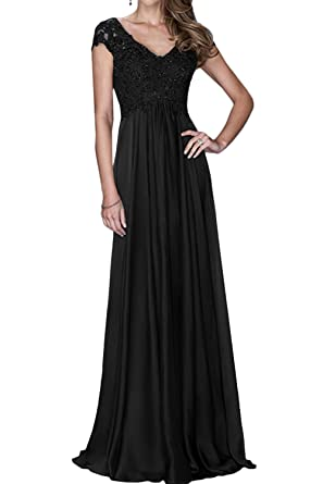 DressyMe Womens Long Wedding Party Prom Dress Sleeves V-neck-6-Black