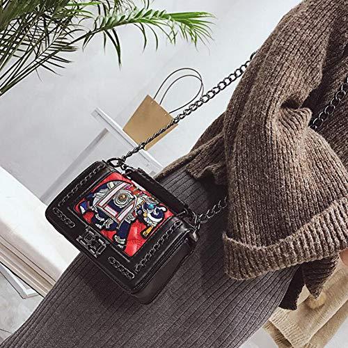 De tout Personnalisé Pu Petit 6 Chaîne Longue Sac Carré Portable En Red Main Noir Broderie À Fourre 12cm Sangle Rouge 20 5 Bandoulière zT6nnZq5A