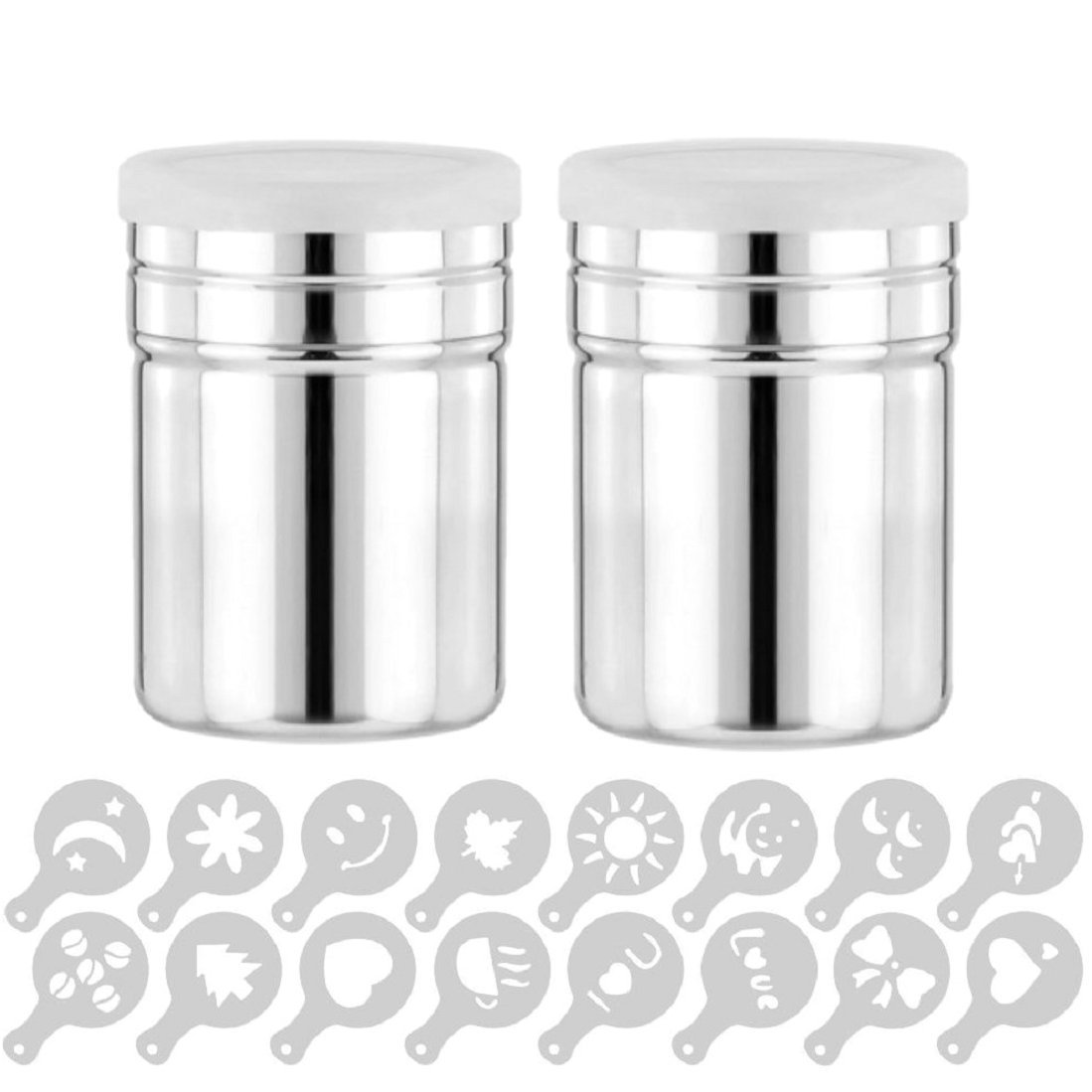 GuDoQi 2 Pieces Coffee Shaker Duster 304 Stainless Steel Icing Sugar Cocoa Powder Shaker Sifter with 16 Pieces Coffee Decorating Stencils Fine Mesh for Latte Art QBY