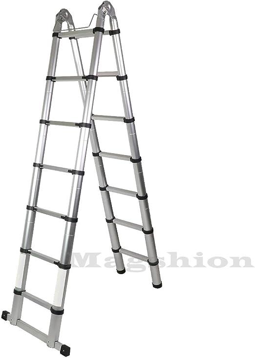 magshion a-frame escalera de aluminio telescópica extensión de altura Multi Purpose EN131: Amazon.es: Bricolaje y herramientas