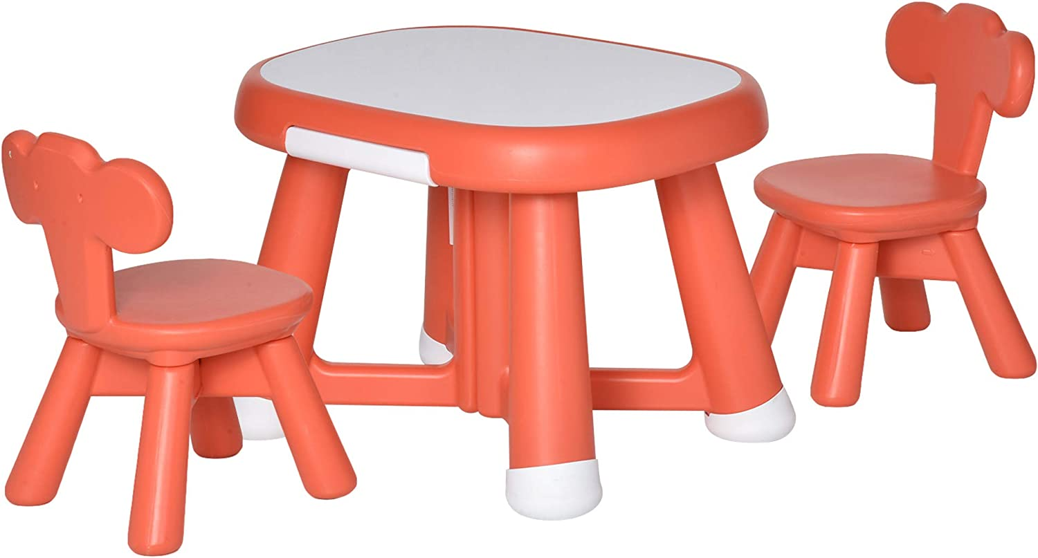 HOMCOM Kids Table and Chairs Set Activity Play Table Writting Desk w// 2 High-Back Chairs Storage Tray for Boys Girls Toddlers Age 1 to 6 Years Pink