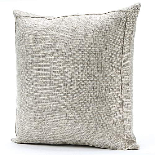 Jepeak Burlap Linen Throw Pillow Cover Cushion Case, Farmhouse Modern Decorative Solid Square Pillow Case, Thickened Luxury for Sofa Couch Bed (18 x 18 Inches, Beige+Khaki -