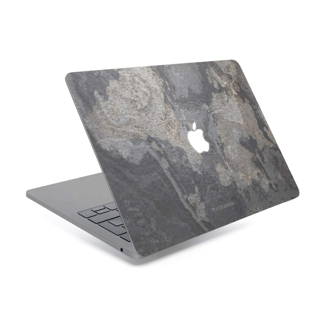 Woodcessories - Skin Compatible with MacBook Made of Real Slate Stone, EcoSkin (MacBook 13 Pro Retina (Till 2015), Camo Gray)