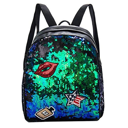 Van Caro Medium Leather Sequins Backpack Daypack Shoulder Bag for Women Girls, Green