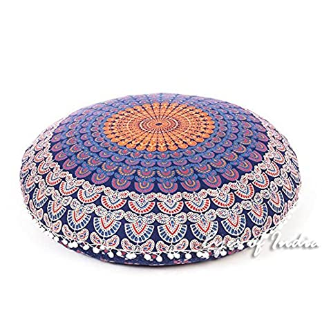 Eyes of India 32 Blue Yellow Green Mandala Floor Meditation Cushion Pillow Seating Throw Cover Round Colorful Decorative Hippie Bohemian Boho Dog Bed Indian Cover ONLY