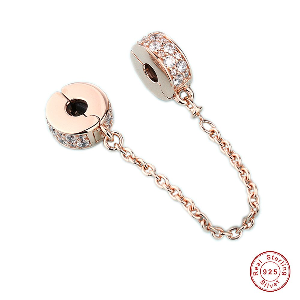 MOCCI Autumn Glamour Trio Rose Gold Safety Chain 925 Sterling Silver DIY Fits for Original Pandora Bracelets Jewelry Women
