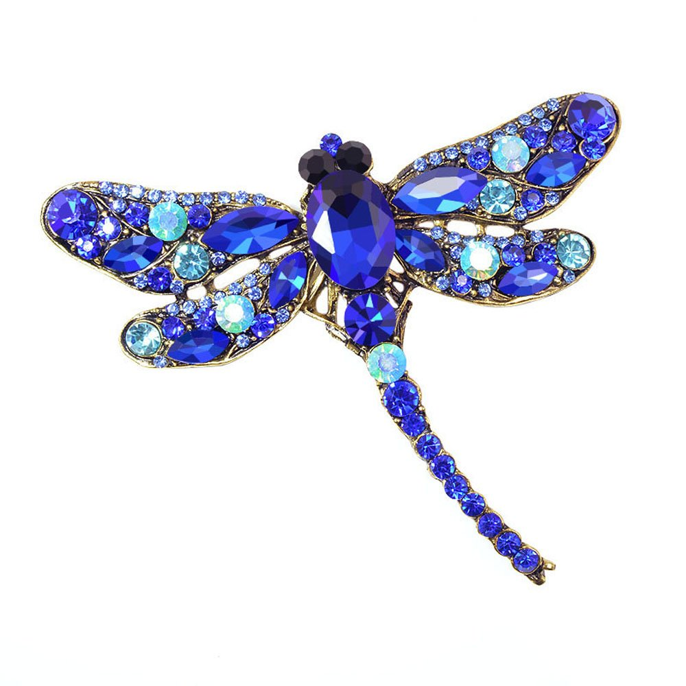 AOCHEE Multi-Colors Wing Dragonfly Brooch Pin Austrian Crystal Rhinestone Dragonfly Necklace Jewelry (Blue)