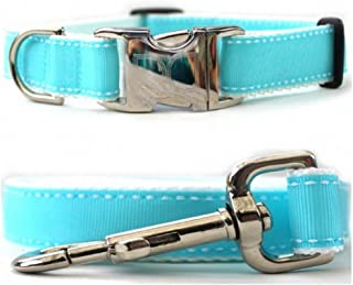 """product image for Diva-Dog 'Preppy Blue' Custom 1"""" Wide Dog Collar with Plain or Engraved Buckle, Matching Leash Available - M/L, XL"""