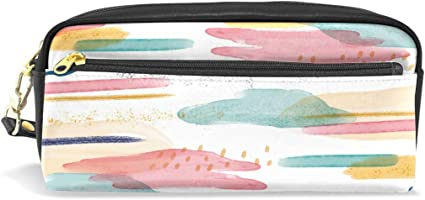 Estuche para lápices con diseño abstracto colorido para niños y niños, bolsa grande de piel con cremallera para colegio, estudiante, maquillaje cosmético: Amazon.es: Oficina y papelería