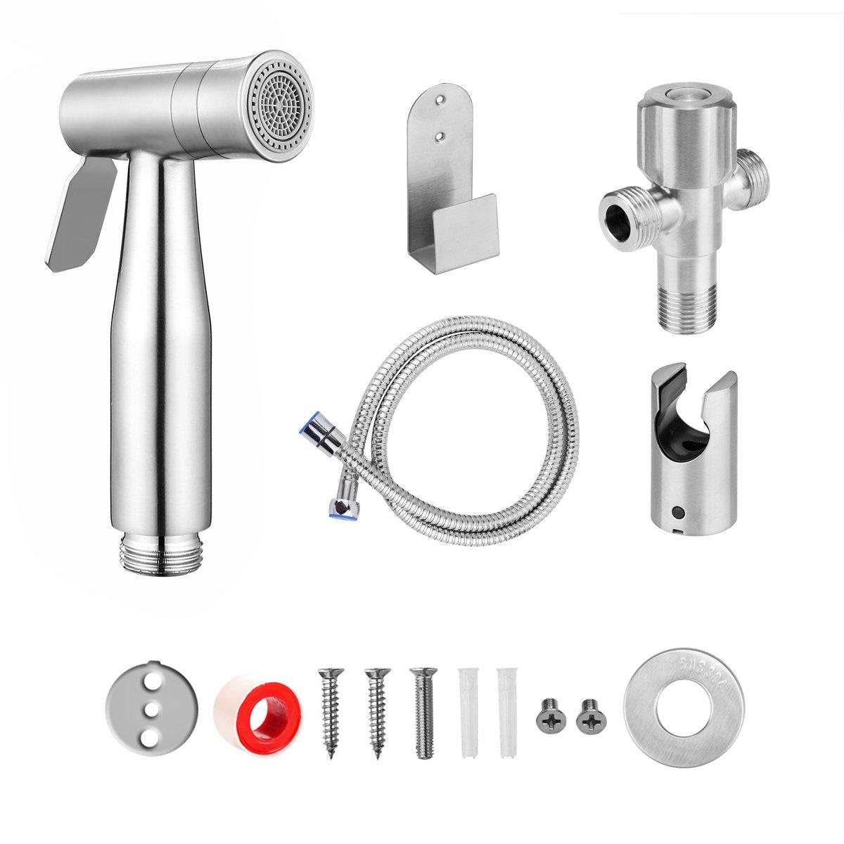 AOZBZ Toilet Hand Held Bidet Sprayer Kit, Bathroom Shower Bidet Tap Shattaf Spray Faucet Cloth Diaper Cleaning with Hose, Tee G1/2 Connectors, Bracket Holder, Holder Hook