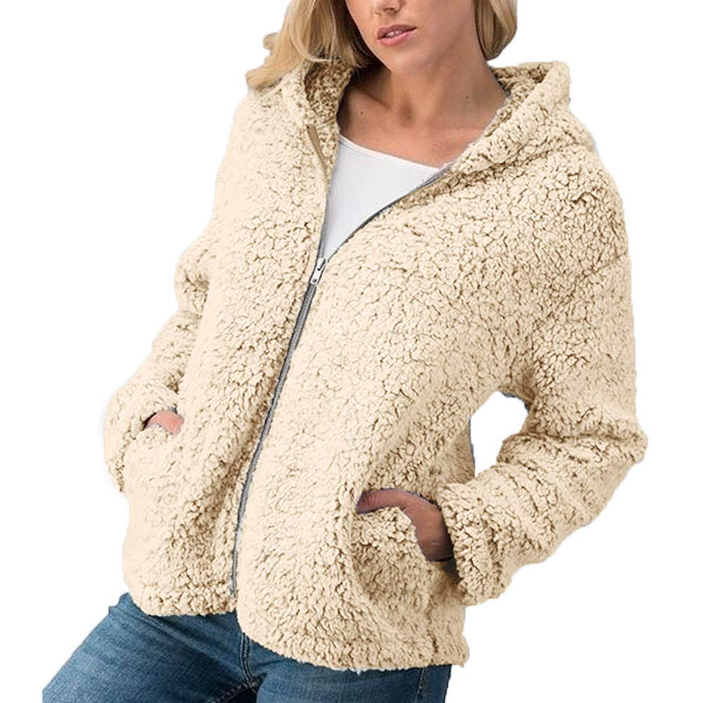 FeiBeauty Frauen Winter Teddy Zipper Kapuzenjacke Plü sch Pullover Damen Warm Sports Style Jacke