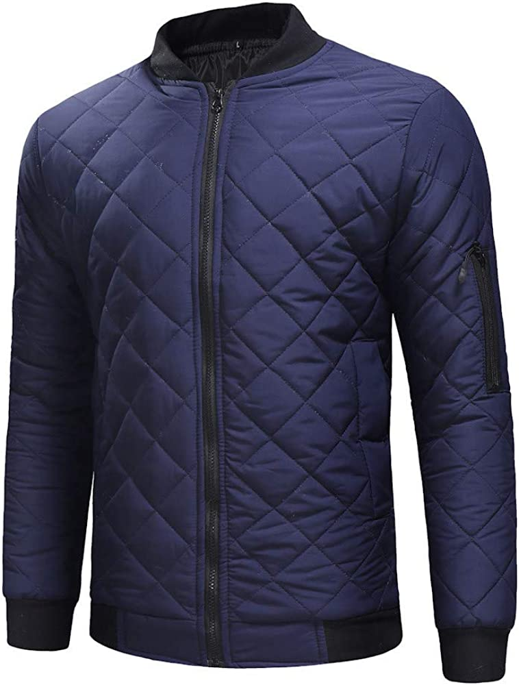 F/_Gotal Mens Flight Bomber Jacket Diamond Quilted Varsity Jackets Winter Warm Padded Coats Outwear Jacket and Coat Warm