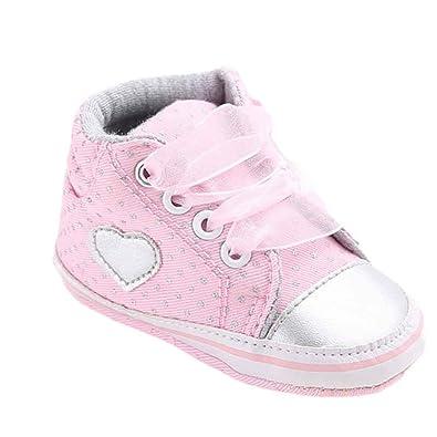 38acc4b94447b Bonjouree Chaussures Bébé Fille Chaussures Souples Premiers Pas  Anti-Dérapant de Bebe Fille 0-