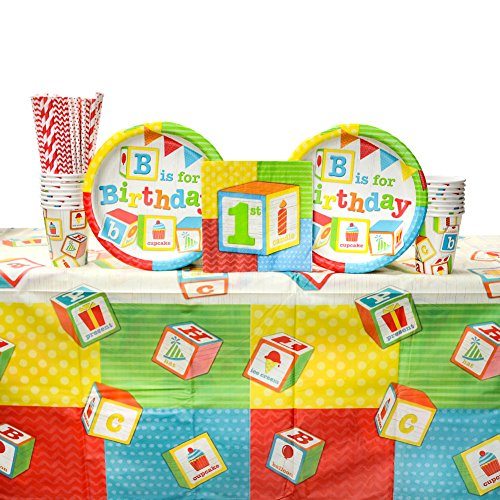 ABC Party Supplies Pack for 16 Guests | Paper Straws, 16 Dinner Plates, 16 Luncheon Napkins, 16 Paper Cups, 1 Table Cover | Fun Birthday Party Alphabet Block Theme with Bright Bold ABC Blocks ()