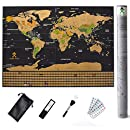 Scratch Off Map Of The World With States – Detailed World Map Includes US States and All Country Flags - Perfect Gift for Travelers with Accessories Set - Large Size 32¼ x 23½ inches by Mode Relax
