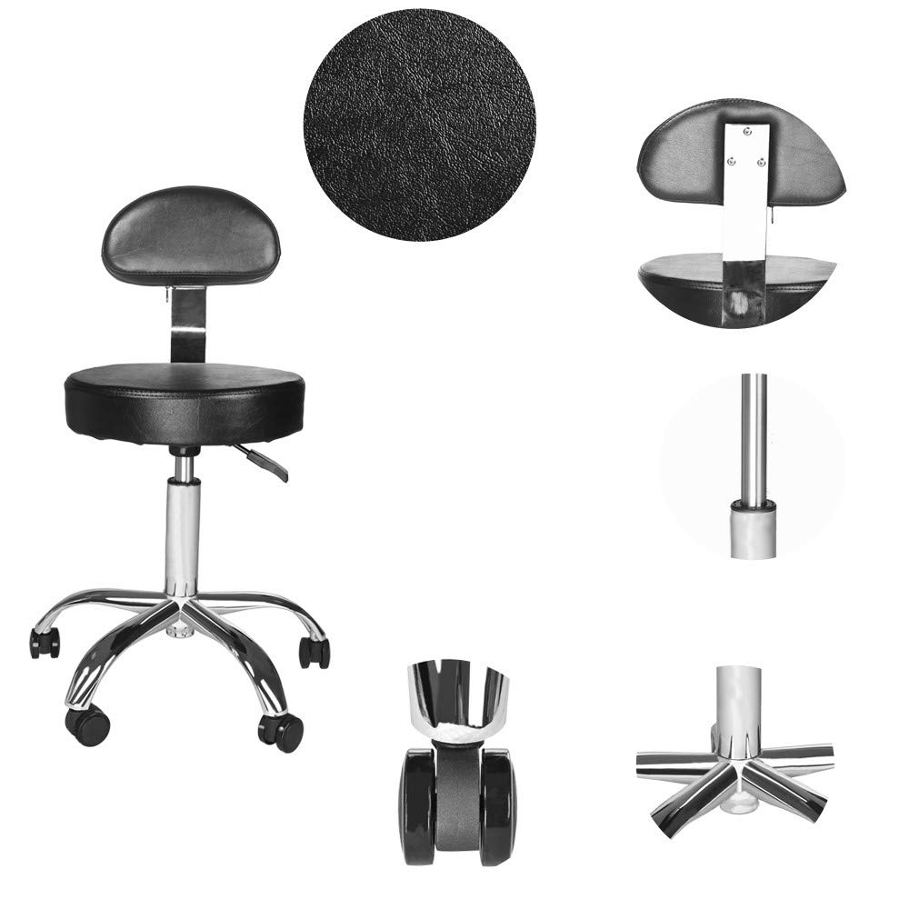 Office Chair Round Stool With Back Beauty Chair for salon Adjustable Height Round Bar Stool With Caster Wheels Hydraulic Lift Step Stool PU Leather Swivel Stool for SPA Medical Beauty Home (Black) by 99HOME