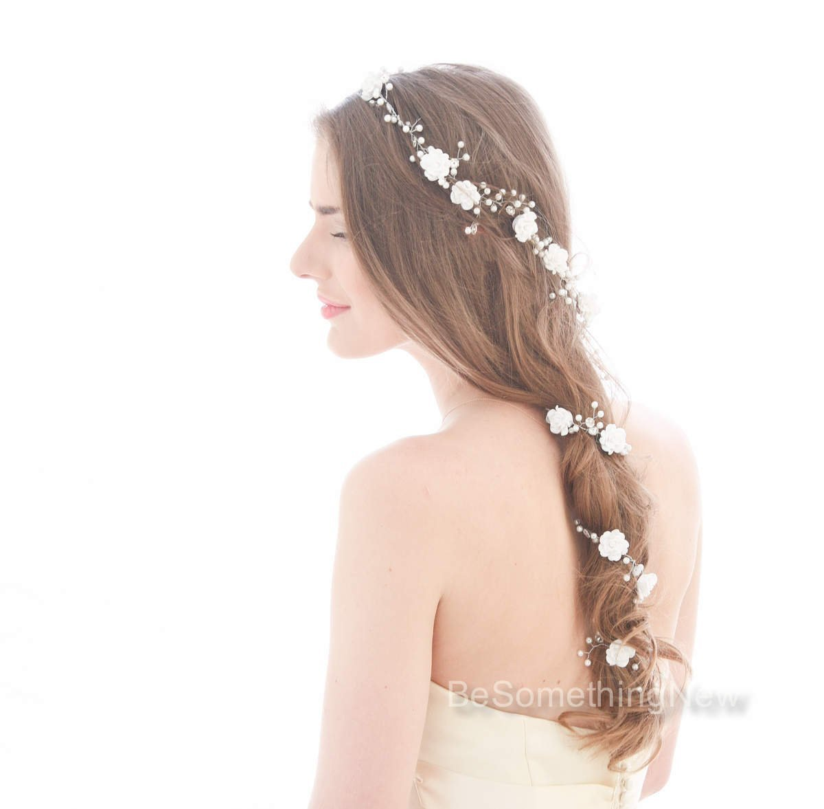 Wedding Large Hair Flowers Pearls Beads Bridal Accessory